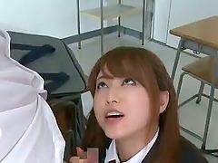 Kinky schoolgirl Akiho gives two men..