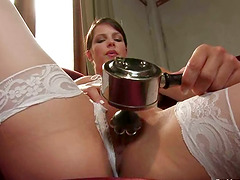 White stockings and a huge fucking..