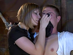 Maitresse Madeline makes a guy lick..
