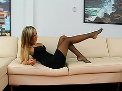 Foot fetish with blonde in stockings