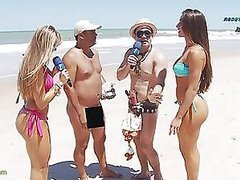 Brazilian Reporter On The Beach With..