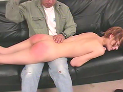 Skinny blonde Zoe gets her ass spanked..