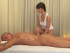 Busty masseur is getting her client so..