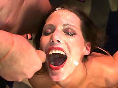 Naughty babes gang banged with style