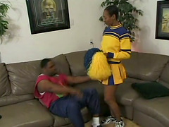 Short Hair Ebony Slut Enjoys On Top Of Big Black Cock