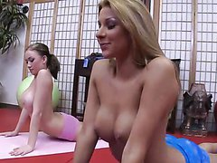 Yoga-Practicing Teens with Big Naturla..