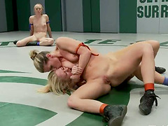 Four nude sluts enjoy fighting with..
