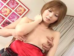 Lustful Asian girl sucks two dicks and..