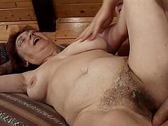 Brunette granny Valda gets her hairy..