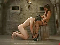 Slim Lucy Lee spanks a guy and he..