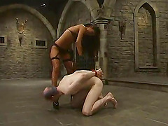 Kinky Lucy Lee ties up some pale guy..