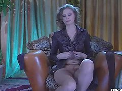Hot Blonde in Sensual Pantyhose Video