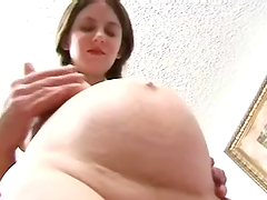 Pregnant hottie Kora jumps on a cock..