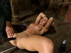 Slender honey Wenona is hogtied with a..