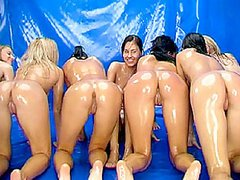 Oiled Up Honies Show Their Hot Asses..
