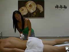 Sexy Asian masseuse gives rides a guy..