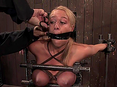 Blonde chick gets gagged and tortured..