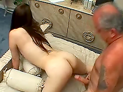Brunette hottie gets fucked by a lewd..