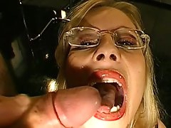 Slutty blonde gets covered in jizz