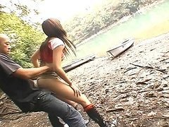 Asian babe Erika fucked by lake by a..