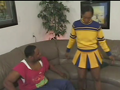 Sexy Ebony Cheerleader Gets Her Black..