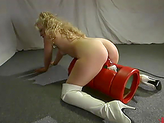 Blonde girl in high boots gets her..