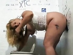 BBW Blonde Babe Gets Her Big Natural Boobs Jizzed On Through a Glory Hole