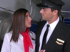 Stewardess Mischa Brooks takes a ride..