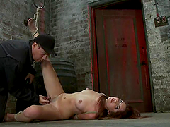 Lexi Brooks gets her shaved vag toyed..