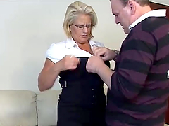 Mature blonde rides a cock after..