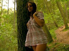 Hot Babe Masturbating in the Forest