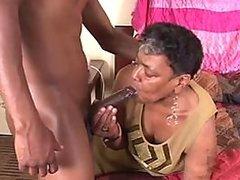 Chubby Ebony Granny Gets a Teen Cock..