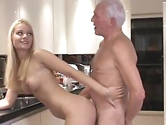 Young blonde fucked by older male