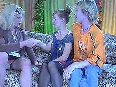 Girl & Guy Dominate A Transvestites..