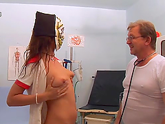 Horny patients have a threesome with a..
