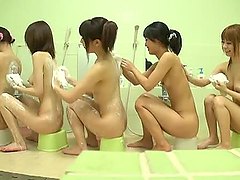 Five sexy Japanese babes wash each..