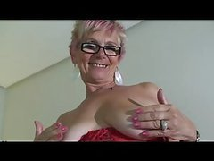 Red Lingerie Wearing Granny Shows Her..