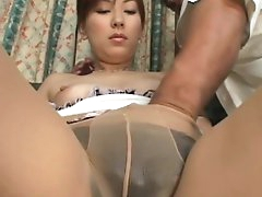 Asian girl stimulated right and hard