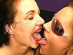 Three girls with big cum-swallowing..