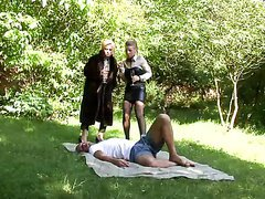Pissing On Two Hot Babes In Outdoors..