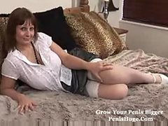 Super Busty Brunette Granny Masturbates With a Sex Toy In Stockings