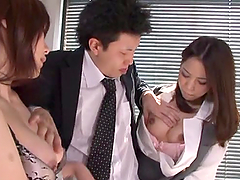 Hot office threesome sex with two hot..