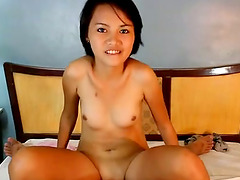 This petite Asian rides cowgirl like a..