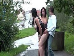 Risky Public Threesome Sex with a..