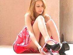 Kinky Blonde Teen in Cute Dress..