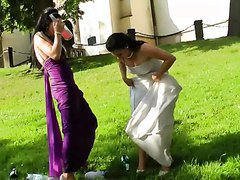 Bride and Maid of Honor Getting Wet..