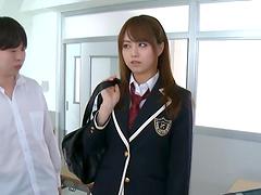 Jap cutie in uniform jerks couple of..