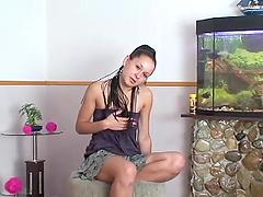A Juicy Brunette In Miniskirt Gets Her..
