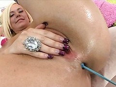 Blonde Plays with Anal Sex Toys and..