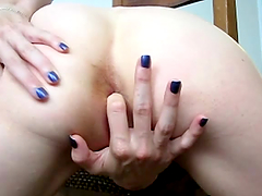 Slim amateur girl fingers her ass in..